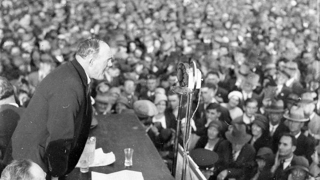 Jack Lang, NSW premier, addressing crowd