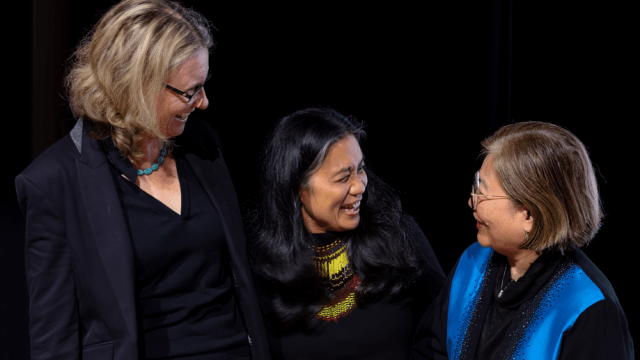 Dr Lucy Neave, Dr Merlinda Bobis, and Her Excellency Maria Hellen B. De La Vega at the book launch for The Kindness of Birds. Image credit: the Philippine Embassy