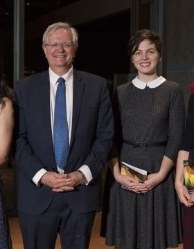 Dr Solène Inceoglu, Ms Katherine Cox, and Dr Kate Flaherty with ANU Vice-Chancellor Professor Brian Schmidt after receiving their awards.