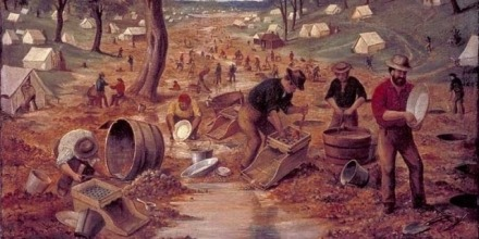 Oil painting measuring 70.5 cm x 90.3 cm, painted about 1855 by Edwin Stocqueler (1829-1895), showing men working on the Bendigo gold field in Victoria.